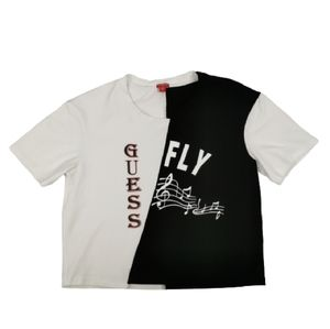 Guess Rae Logo Split Graphic Crop Tee